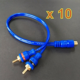 10 x Blue RCA Cable (1F 2M) Adapter Cable