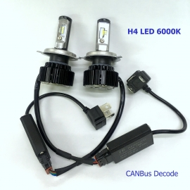 H4 H/L LED 6000K T6 12V/24V CANBus Decode White Light Bulb
