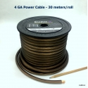 4 GA AUDIO POWER CABLE FROSTED BLACK  30M/Roll