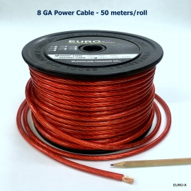 8GA Audio Power Cable Transparent Red 50 Meter/Roll