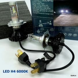 H4 9003 LED 6000K High Power 6000LM Headlight Bulb X 2