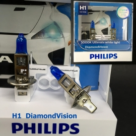 PHILIPS H1 5000K DiamondVision 12V 55W Halogen Bulb X 2