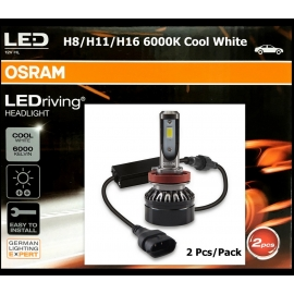 OSRAM H11/H8/H16 LED 6000K Cool White 12V 25W Headlight Bulb x2