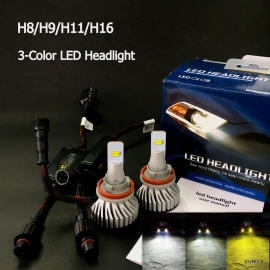 Intelligent 3-Color LED H8/H9/H11/H16 Headlight Bulb 2 Pcs/Pack