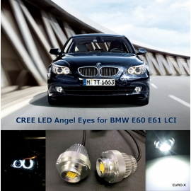 For BMW E60 E61 LCI CREE LED Angel Eyes 80W White Light Bulb X2
