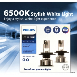 PHILIPS H4 LED-HL Ultinon Essentail 6000K Car Light Bulb X 2
