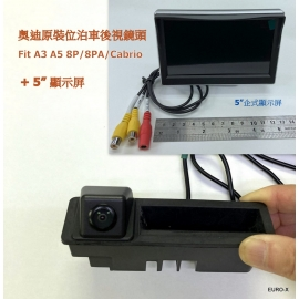 """Fit Audi A3 A5 8P/8PA Cabrio Parking Rear View Camera + 5"""" Monitor"""