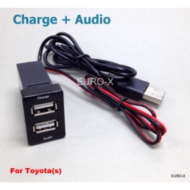 USB Dashboard Fast Charger Mount + Audio Input Adapter for TOYOTA S