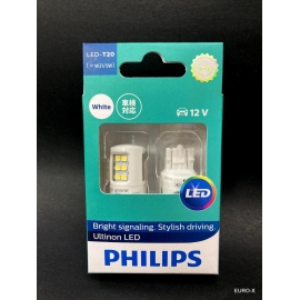PHILIPS T20 Ultinon LED White W21/5W 12V Signal Light Bulb X 2