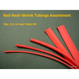 Red Heat-Shrinkable Tubing Assortment Dia 2.5-15mm 5M